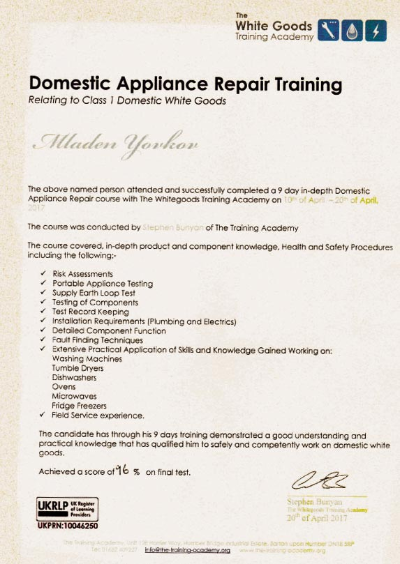 domestic appliance repair training