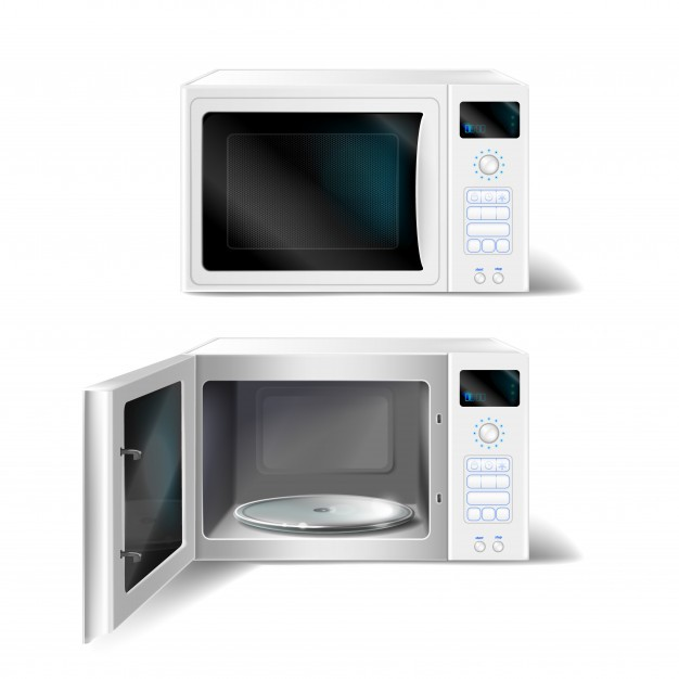 white-microwave-oven-with-empty-glass-plate-inside-with-open-close-door