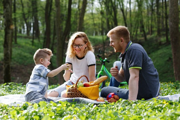 mom-dad-little-boy-taste-apples-sitting-grass-during-picnic-park